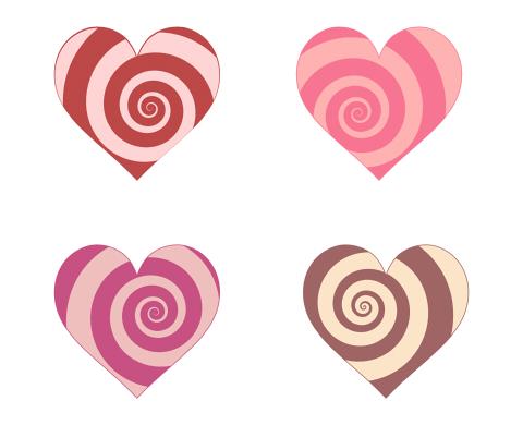 渦巻き模様のハートマーク ピンクやブラウンのぐるぐる模様