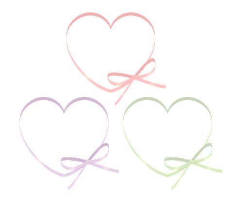 フリー素材右下にリボンが付いたハート枠 ピンクと緑、パープルの三色セット