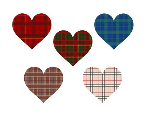 タータンチェック風ハートマーク素材赤やベージュ、青など5色