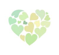 黄緑色のハート集合体