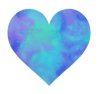 濃いブルーの混色ハートマーク