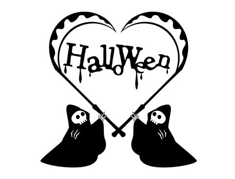 ハロウィン素材黒単色のイラスト 死神が鎌でハートを形作っている 内側にはHalloweenの文字