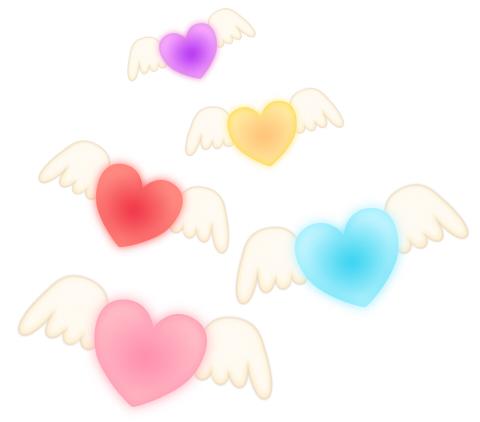 白い翼のハートマーク ピンクや黄色、ブルー、パープルのハートマークに、白い翼が生えているイラストフリー素材