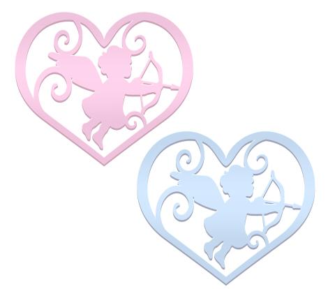弓矢を持った天使(キューピッド)のシルエットハート薄いピンクとブルー