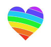 真ん中虹色のハートマーク