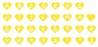 サムネイル手描きのアルファベットハート素材黄色