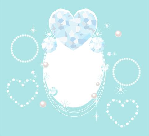 キラキラ宝石ハートのイラスト素材 白スペース入り装飾的な透過ミニフレーム