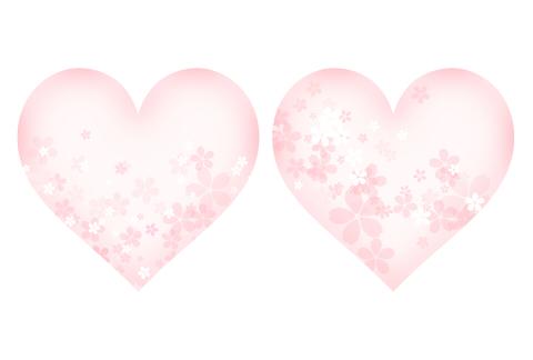 透明度のある淡いピンク色のハートマークに、桜のイラストが散らばっているフリー素材