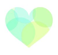 半透明丸模様の黄緑ハート