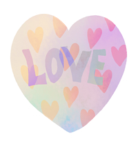 LOVEの文字が入った手描きハート素材大