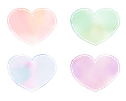 薄い色の水彩風ハートマーク素材 丸っこいフォルム 桃色と緑、青、薄紫の4色 内側に白線