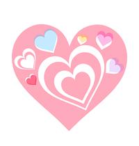 ピンクや水色のハートが重なるイラスト素材