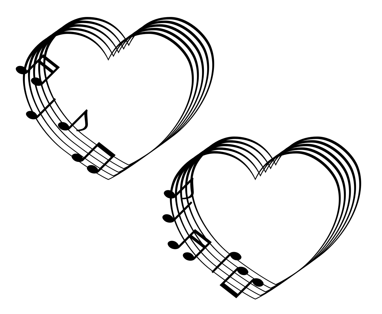 音符と五線のハートマーク 黒単色 : ハートの素材屋