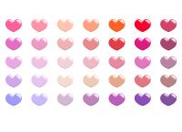 フリー素材のハートアイコン 赤やピンク、オレンジ、ベージュなど35色セット