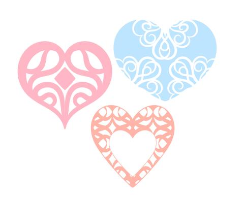 装飾的なハートマーク3種類