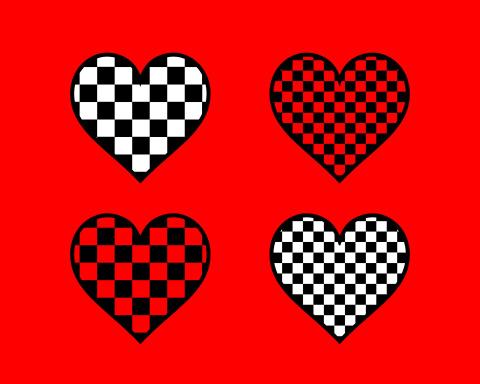 フリー素材白黒一松模様のハートマーク赤背景