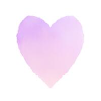 淡い紫色の水彩ハート 細長い形