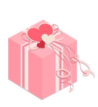 プレゼント箱イラスト素材ピンク02