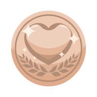 ハートコインイラスト銅色