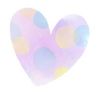 水彩ハートいびつな水玉模様紫