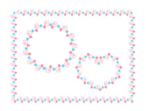 ピンクと水色のハート装飾枠