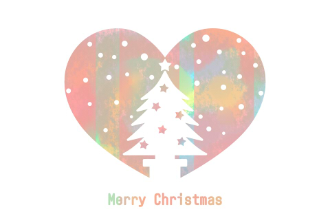 クリスマスツリーシルエットが白抜きされたハートマーク背景は手描き風