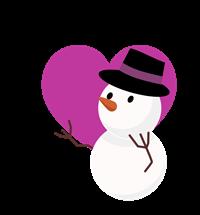 透過雪だるまフリーイラスト紫