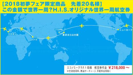世界一周旅行が218,000円~、抽選ではなく先着20名です!
