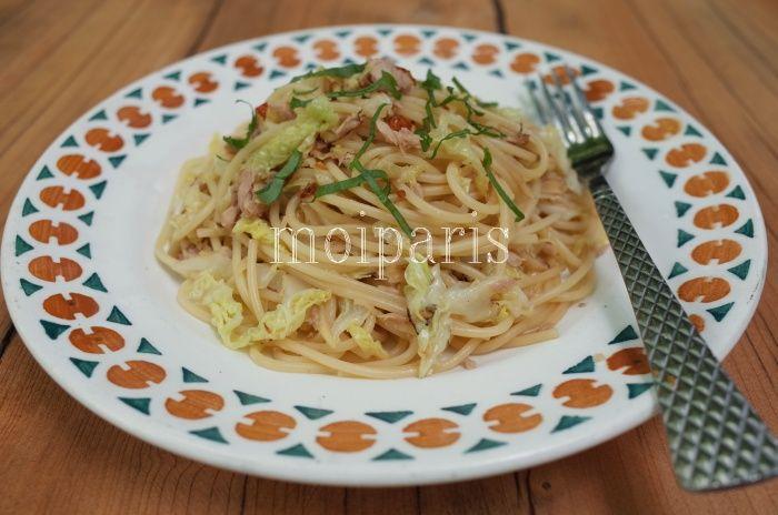 ツナとキャベツのさっぱり生姜スパゲティー