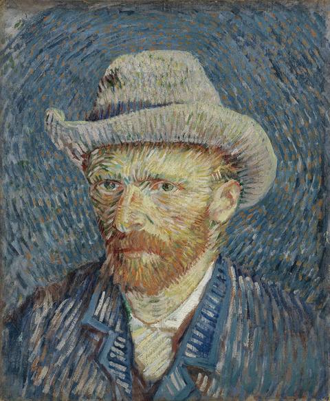灰色のフェルト帽子の自画像vangoghmuseum-s0016V1962-800
