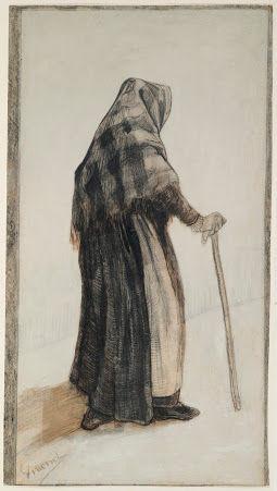 杖を持つショールの老婆vangoghmuseum-d0174V1967-800