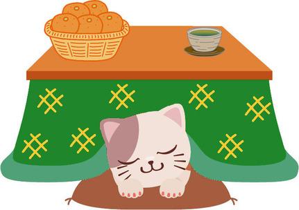 冬のイラストこたつ猫みかん①20150126
