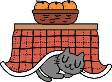 冬のイラスト こたつ猫みかん ②20150126
