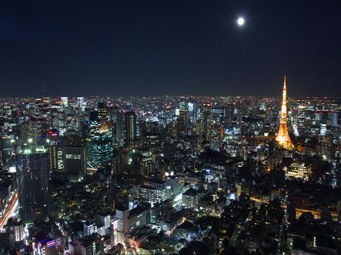 満月と東京タワーと夜景