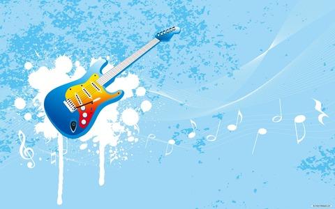 キュートなブルーのギター壁紙20150421