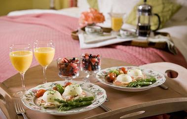 朝食向こう側にベッド20140620