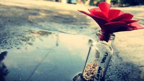 右に紅色の花びらみたいな物を挿したガラスの小瓶左に水たまり