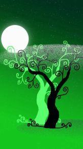 緑の月の夜、踊る木