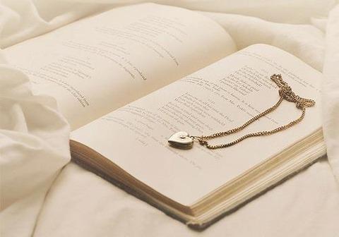 白っぽい開かれた本にペンダント