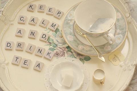 白い紅茶カップ&ロゴ皿