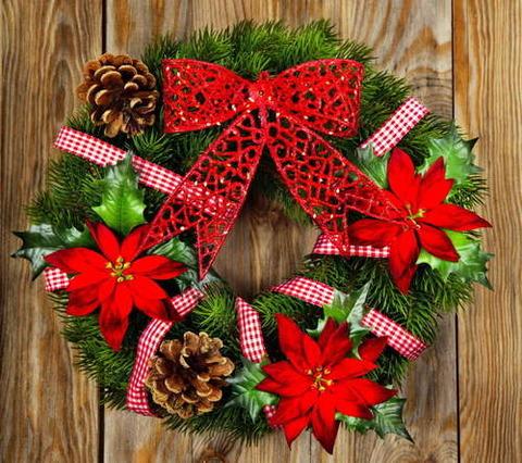 クリスマス 丸いドア飾り 木のドア 2015.12.15