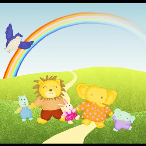 14 手をつなぐゾウたちと虹