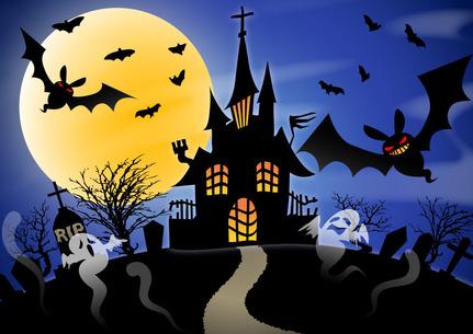 ハロウィン お城に集まるお化けとコウモリ