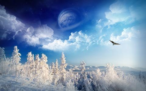 雪山と青空とトンビ20141228