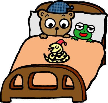 冬のイラスト冬眠ベッド3匹20150126