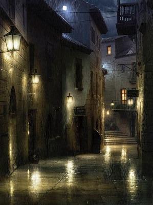 雨に濡れる煉瓦の街の灯