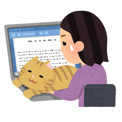 いらすとや 猫にパソコン作業を邪魔される