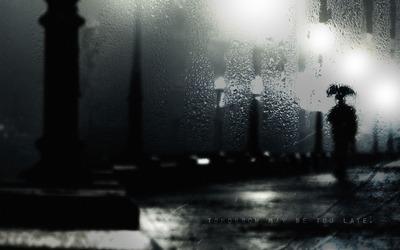 セーヌの雨傘使用モノクロ写真①