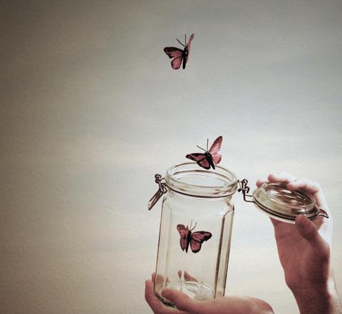 ガラスの真空瓶から飛び出す蝶々