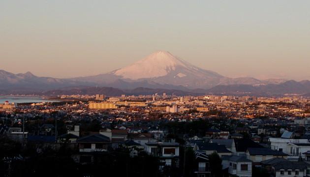 夕日のピンク富士です。